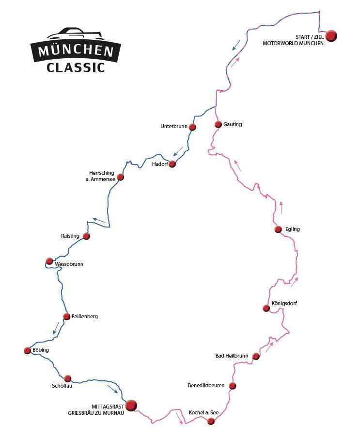 Strecke der München Classic Rallye 2018